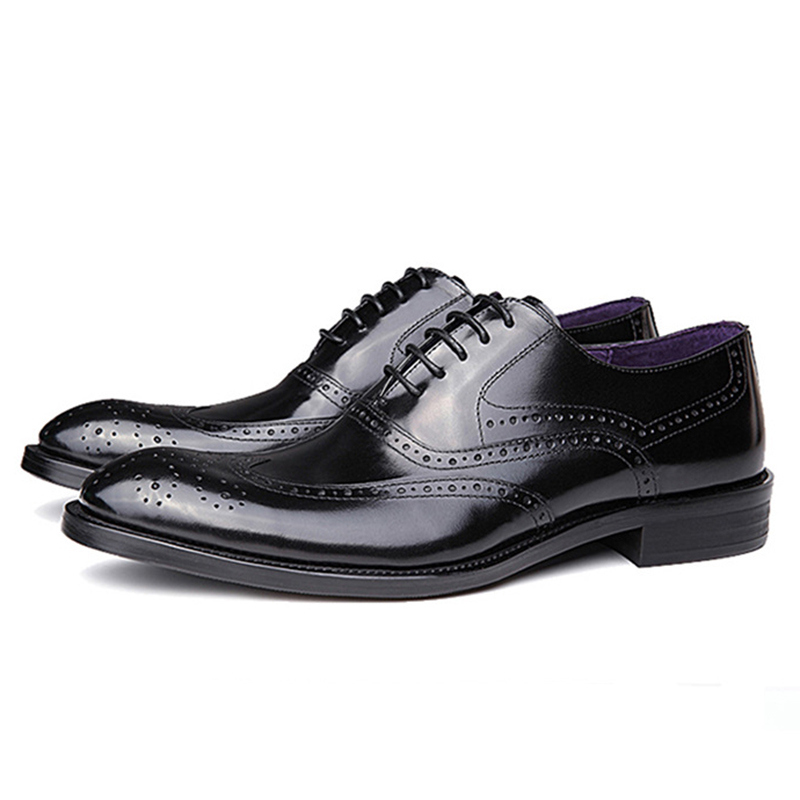 ФОТО 2017 Fashion Branded Design Men's Black/Red Dress Carved Genuine Leather Oxfords Lace-Up Fulll Brogue Pointed Toe Oxford Shoe