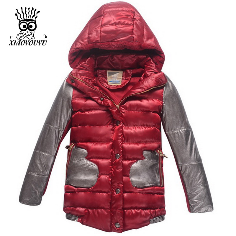 ФОТО XIAOYOUYU Size 100-150 Children Outdoor Winter Jacket  Kids Girl Fashion Casual Hooded Coat Black Patchwork Design Girls Coats