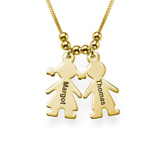 Personalized Figure Kids Shap Pendant Necklace 2017 New Arrival Custom Made Any Name For Mom&Kid Family YP3105 Gold Silver