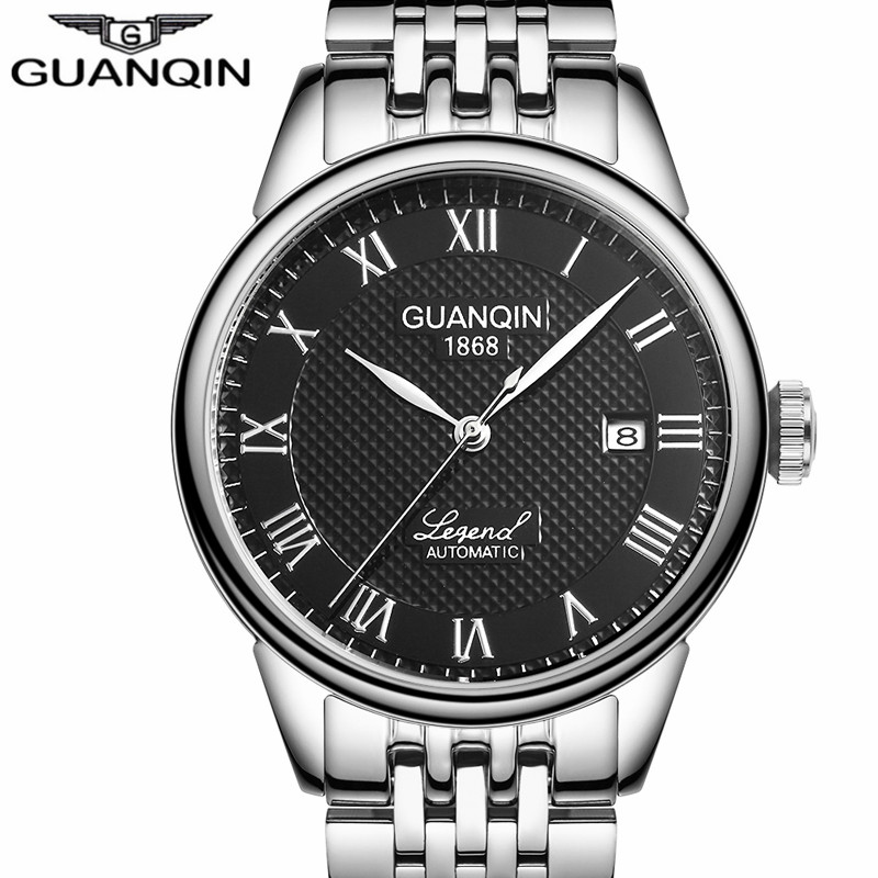 Watches Mens Top Brand Luxury GUANQIN Automatic Self-Wind Watch Date Rhinestones Steel Mechanical Wristwatches Relogio Masculino original binger mans automatic mechanical wrist watch date display watch self wind steel with gold wheel watches new luxury