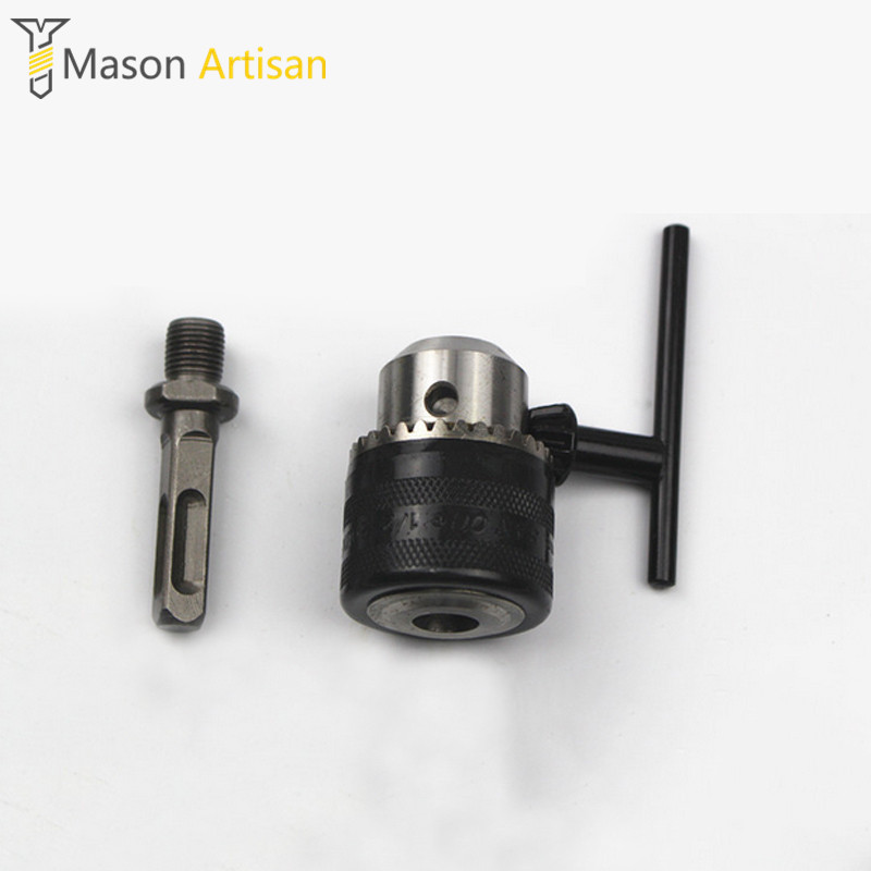 3-16mm Drill Chuck + Square Shank Connecting Rod Electric Hammer Convert To Electric Drill Powel Tool Accessories professional wall hole drill tools kit round shank spotting drill with connecting rod