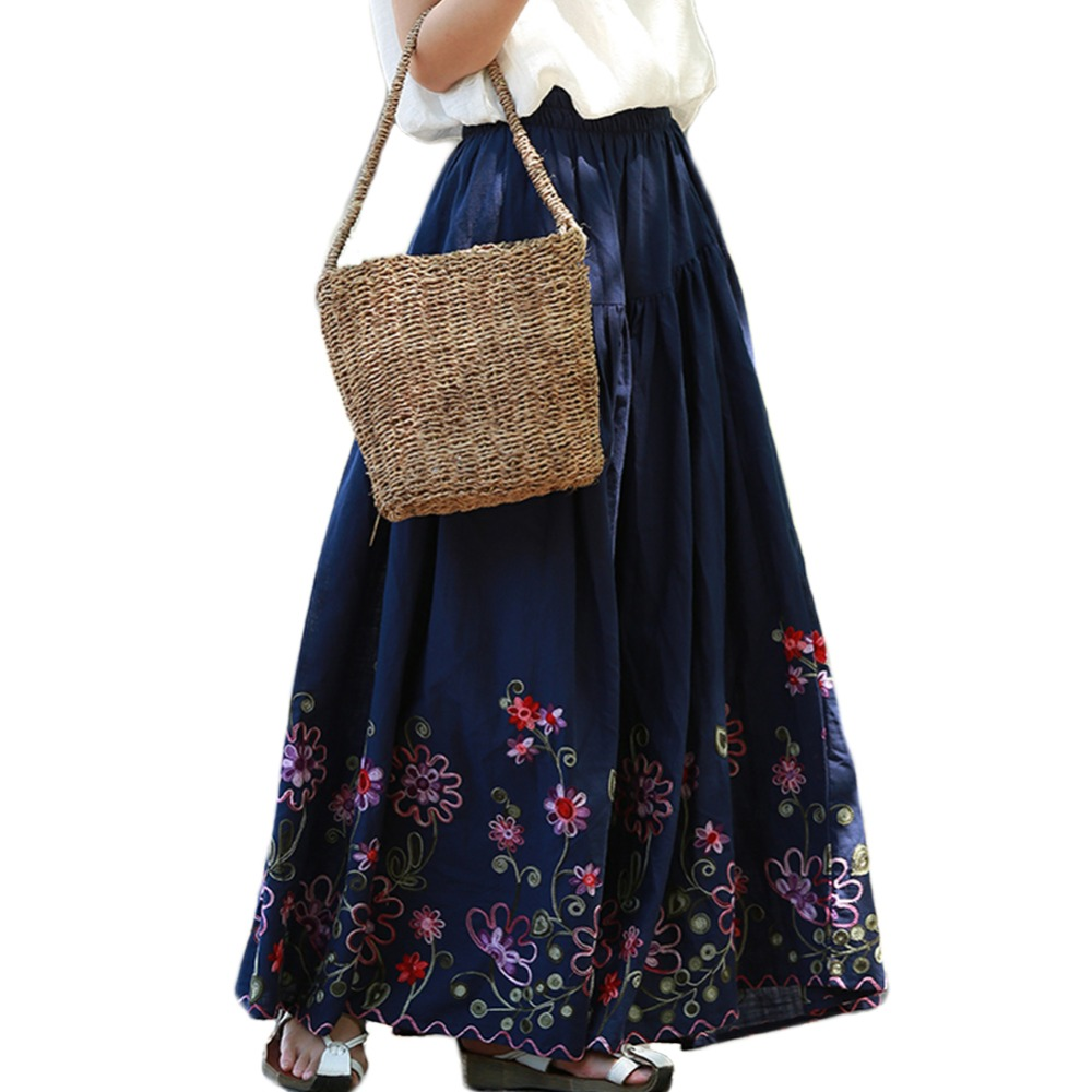 Elastic High Waist Long Skirt Women Summer Embroidery Skirts A-Line Vintage Maxi Skirt Big Hem Jupe Longue 3Colors
