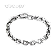 Men's Cool Plain 925 Sterling Silver Rectangle Link Chain Bracelet 7mm 20 cm Free Shipping