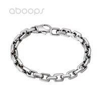 Men's Cool Plain 925 Sterling Silver Rectangle Link Chain Bracelet 7mm 20 cm Free Shipping