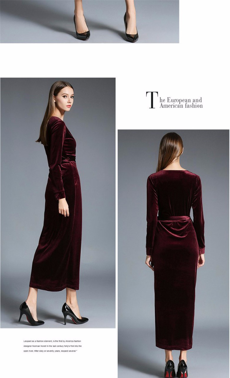 3f48ad3c8a 17 Autumn Winter Dresses Women Long Sleeve V-Neck Red Velvet Dress Pencil  Sexy Evening Party Dresses Christmas Robe Femme