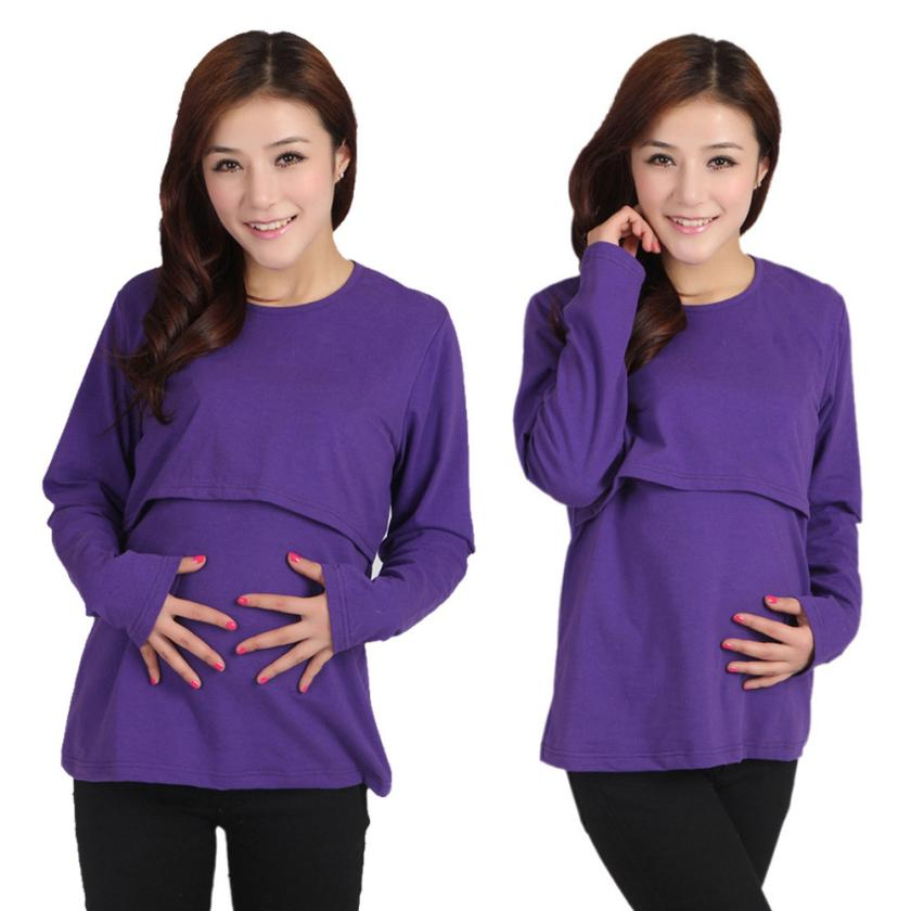 Pregnant Maternity Clothes Nursing Tops Breastfeeding Long Sleeve T-Shirt Q35 Sep1