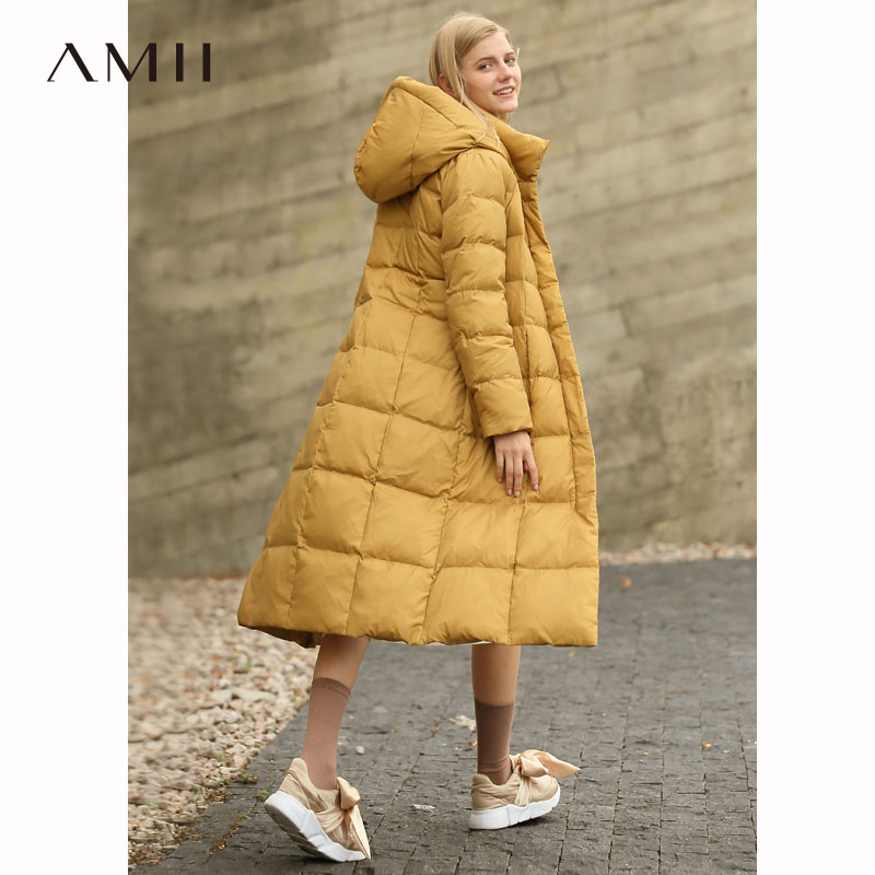 Amii Women 2018 Winter Thick 90 White Duck Down Coat Hoodies Long Female Fashion Light Jacket