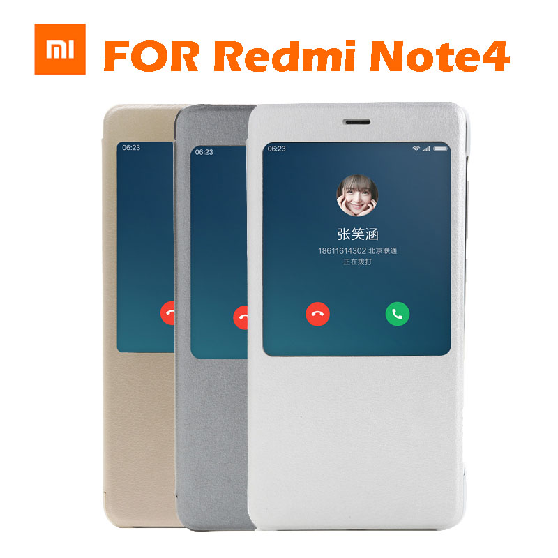 imágenes para En Stock Original Xiaomi Redmi Tirón Nota4 nota 4 UNID + PU Smartwake Caso de la cubierta Para Xiaomi Redmi Nota 4 Teléfono Móvil Caja Al Por Menor