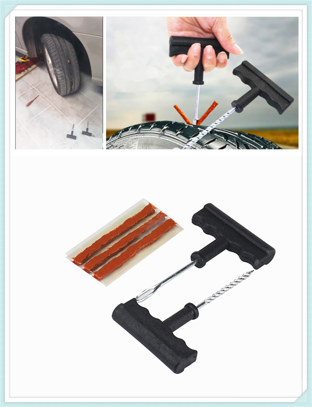 >Car and motorcycle tubeless tire repair tool puncture tube for Ford Transit <font><b>Ranger</b></font> <font><b>Mustang</b></font> <font><b>Ka</b></font> Fusion Focus F-150