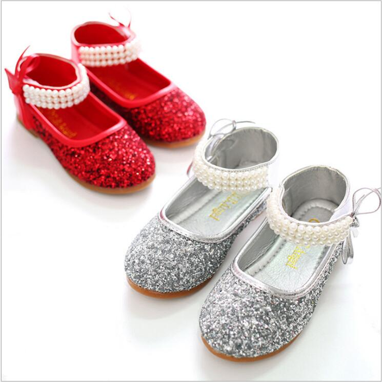 2016 Children Princess Glitter Sandals Kids Girls Wedding Shoes Square  Heels Dress Shoes Party Shoes Red Silver  Size 24~37-in Sneakers from  Mother   Kids ... aa2e1157982c