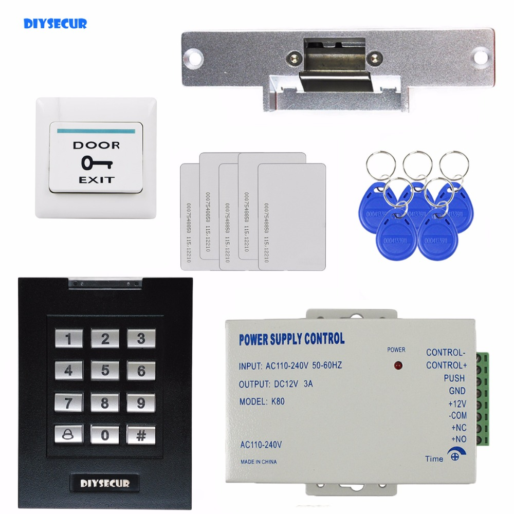 DIYSECUR RFID 125KHz Keypad Access Control Security System Kit + Electric Strike Door Lock + ID Cards Key Fobs diysecur 50pcs lot 125khz rfid card key fobs door key for access control system rfid reader use red
