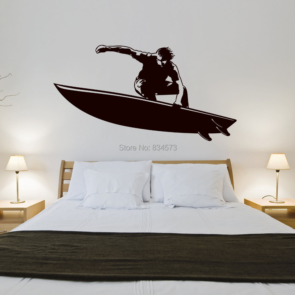 Surfer sea sports retro silhouette wall art sticker wall for Vintage basketball wall art