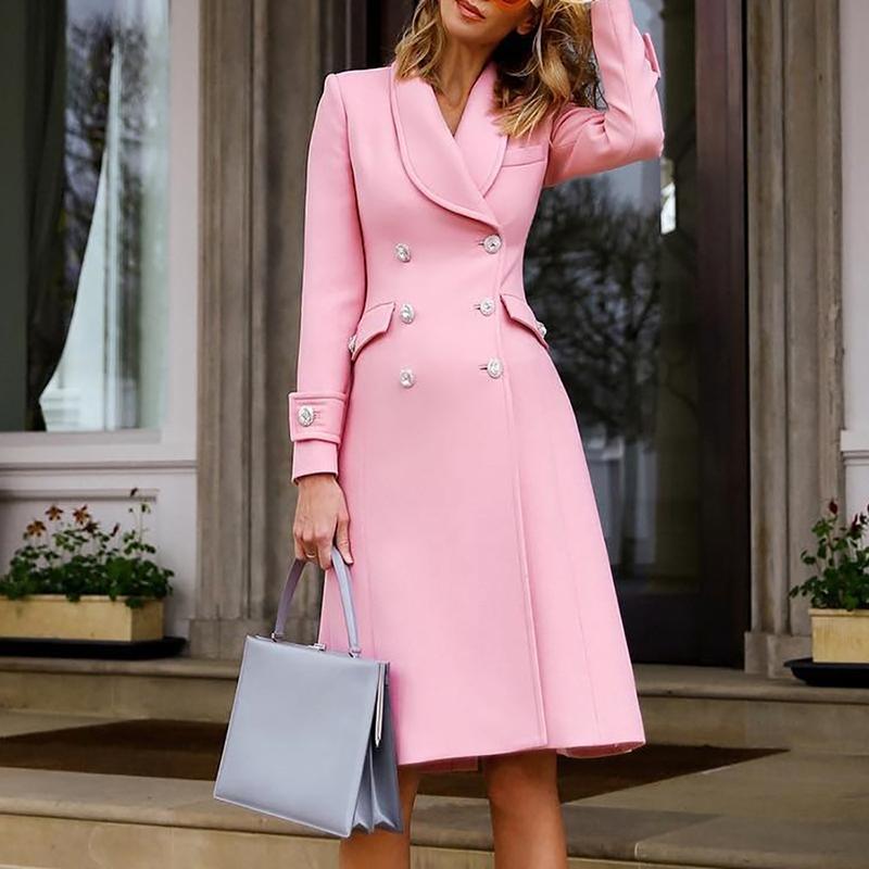 Occasionnel Hiver Rose Femmes Femelle À Bureau 2018 Boutonnage De Mode Manches Manteau Tranchée Double Ciel Pu Travail Longue Élégante Vêtements Solide rose Longues PAdx8w