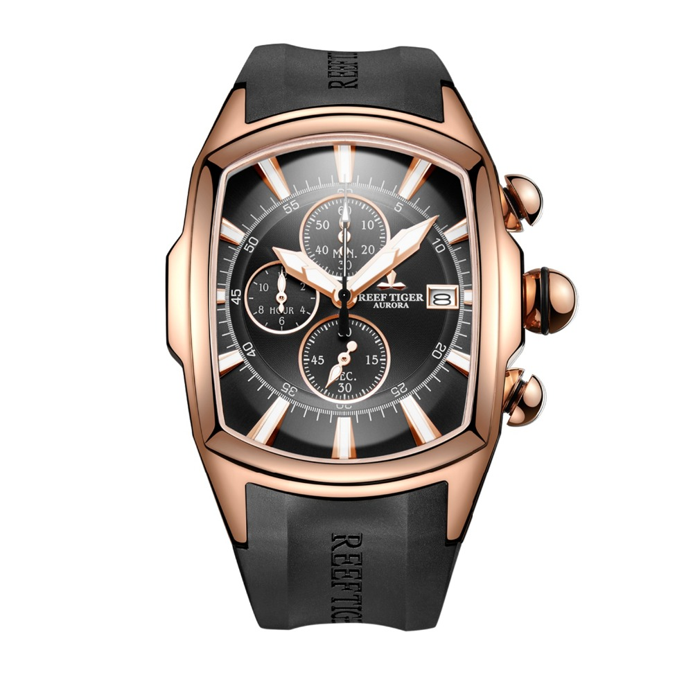 Reef Tiger RGA3069-T Men Multifunction Quartz Wrist Watch With Wateres Resistant,Chronograph,Luminous - Rosegold