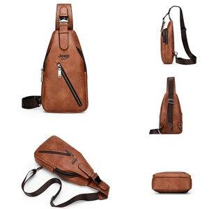 Image 3 - JEEP BULUO seyahat yürüyüş çapraz vücut postacı çantası erkek büyük kapasiteli göğüs tek kollu çanta katı erkekler bölünmüş deri çanta yeni