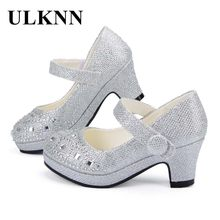 ULKNN Children Princess Shoes for Girls Sandals High Heel Glitter Shiny Rhinestone Enfants Fille Female Party Dress Shoes(China)