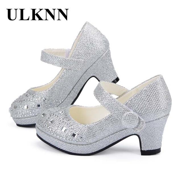 ULKNN 子供の王女の靴のための高ヒールグリッター光沢のあるラインストーンザンファン Fille 女性パーティードレス靴
