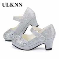 ULKNN Enfants princesse chaussures pour filles sandales à talons hauts paillettes brillant strass Enfants Fille femme robe de soirée chaussures