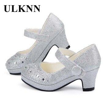 5b7412477 ULKNN niños zapatos de princesa para niñas Sandalias de tacón alto  brillante de diamantes de imitación Enfants Fille mujer vestido de fiesta  zapatos