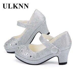 Image 1 - Ulknn crianças princesa sapatos para meninas sandálias de salto alto brilho brilhante strass enfants fille feminino vestido festa sapatos