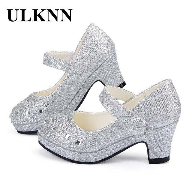 Ulknn crianças princesa sapatos para meninas sandálias de salto alto brilho brilhante strass enfants fille feminino vestido festa sapatos