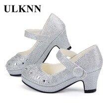 Ulknn子供の王女の靴のための高ヒールグリッター光沢のあるラインストーンザンファンfille女性パーティードレス靴