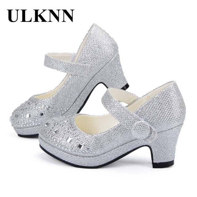 Ulknn子供王女の靴女の子のためのサンダルハイヒールグリッターシャイニーラインストーンザンファンfille女性パーティードレス靴