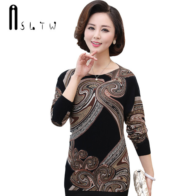 ASLTW Plus Size Women's Sweater New Pullover Blouse Batwing Sleeve O Neck Printing Knitwear Tops Casual Jumper Sweater Women