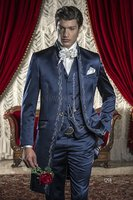 Klasik Stil Nakış Damat Smokin Groomsmen erkek Düğün Balo Özel Made Takımlar (Ceket + Pantolon + Yelek) K: 1910