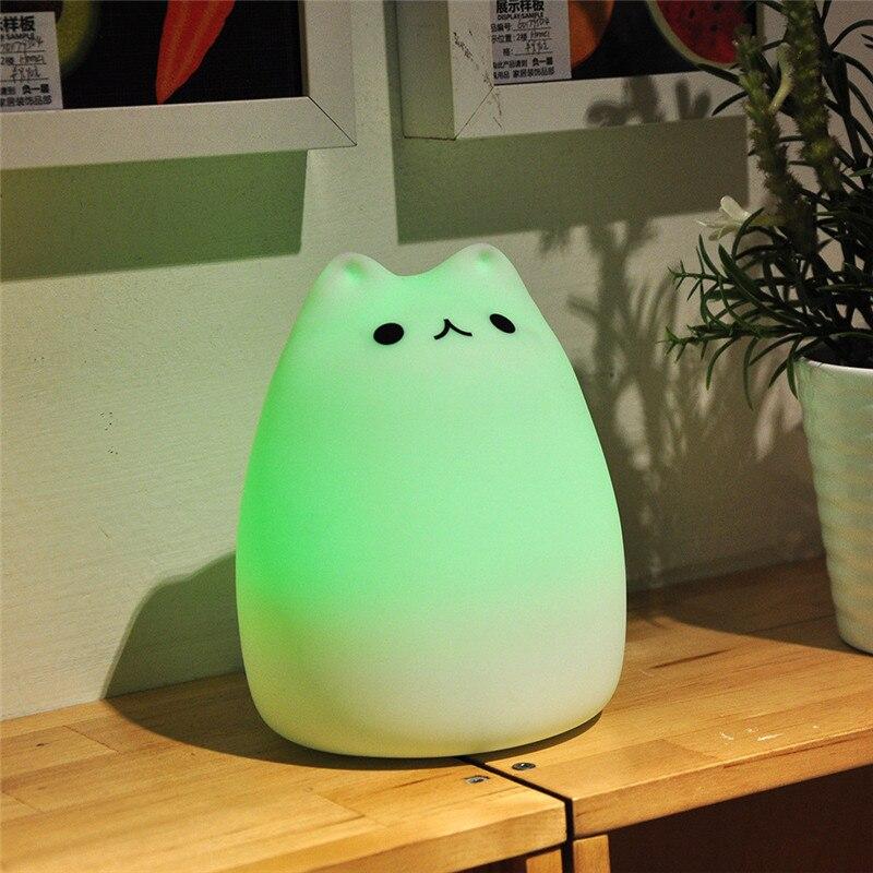 Colorful Cat LED Children Animal Night Light Silicone Soft Cartoon Baby  Nursery Lamp Breathing LED Night