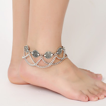 2016 New Silver Color Bohemian Metal Tassel Anklet Luxury Charm Vintage Coin Ankle Bracelet For Women Jewelry Summer Style