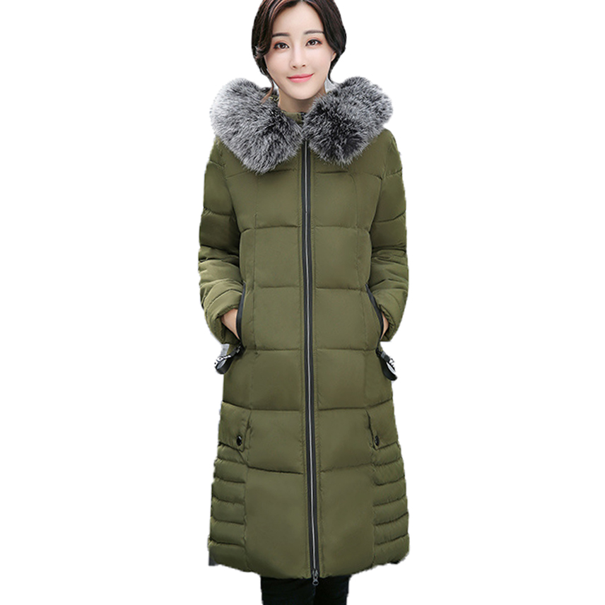 Parkas Women Coats 2017 Fashion  Autumn Warm Winter Jackets Women Fur Collar Long Parka Plus Size Hoodies Casual Cotton Outwear