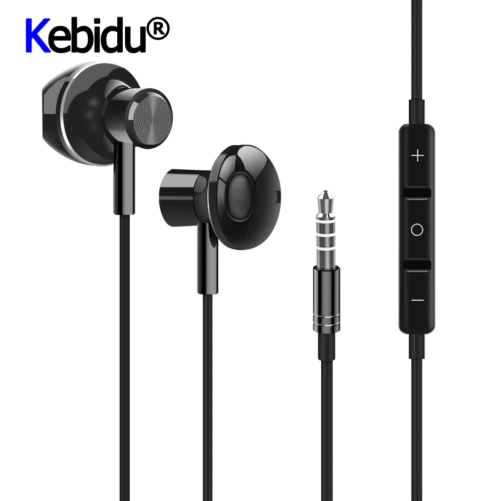 Kebidu 6D Stereo In-ear Earphone Headphones Wired Control Bass Sound Earbuds 3.5mm Type C Earphones For IPhone For Huawei