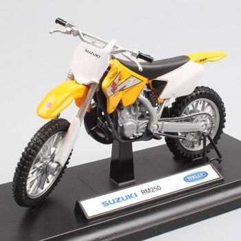 Çocuk 1:18 ölçekli Welly Mini Suzuki RM250 motocross yarışı motosiklet motosiklet Diecast Enduro off road Trail modeli Oyuncak minyatür