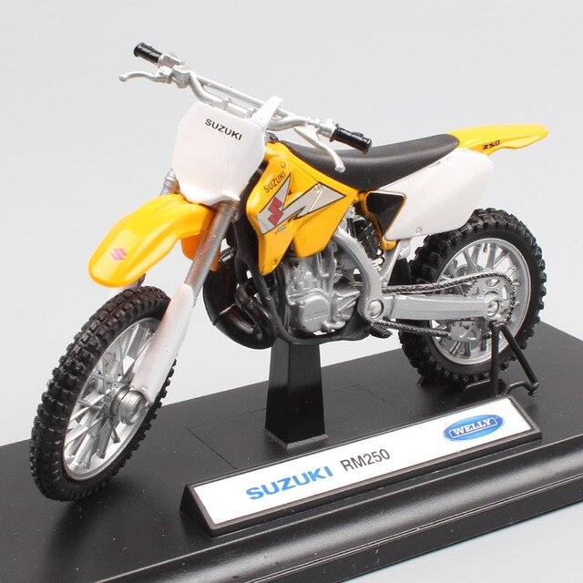 Ребенок 1:18 Масштаб Welly мини Suzuki RM250 мотокроссу Мотоцикл литья под давлением эндуро off road Trail модель игрушки Миниатюрные