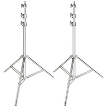Neewer 2 Pack Stainless Steel Light Stand Silver 86.6 inches/220 cm Foldable Portable Heavy Duty Stand for Studio Softbox