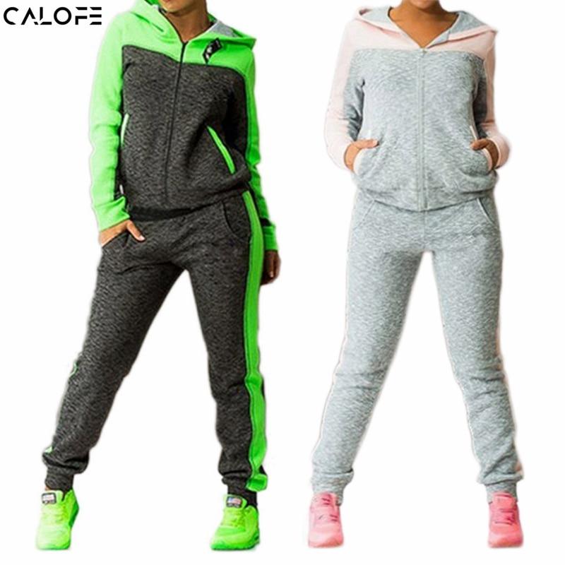 CALOFE 2019 אביב סתיו שני חלקים חולצת טריקו חליפות ריצה לנשים חליפות ספורט טלאים קפוצ'ון סוודר מכנסיים ריצה Z25