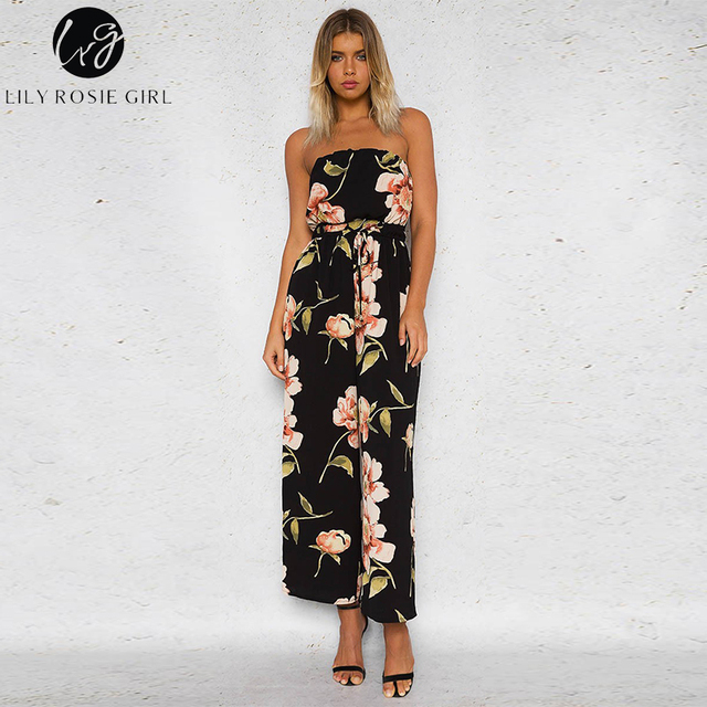 Lily Rosie Girl Overalls For Women Jumpsuits Sexy Off Shoulder Backless Boho Floral Print Strapless Playsuits with Belts Rompers