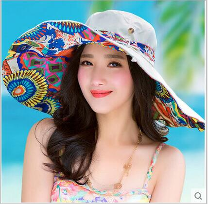 Fashion Design lady's sun hat flower printed UV protection women caps hat summer large brim beach sun hats
