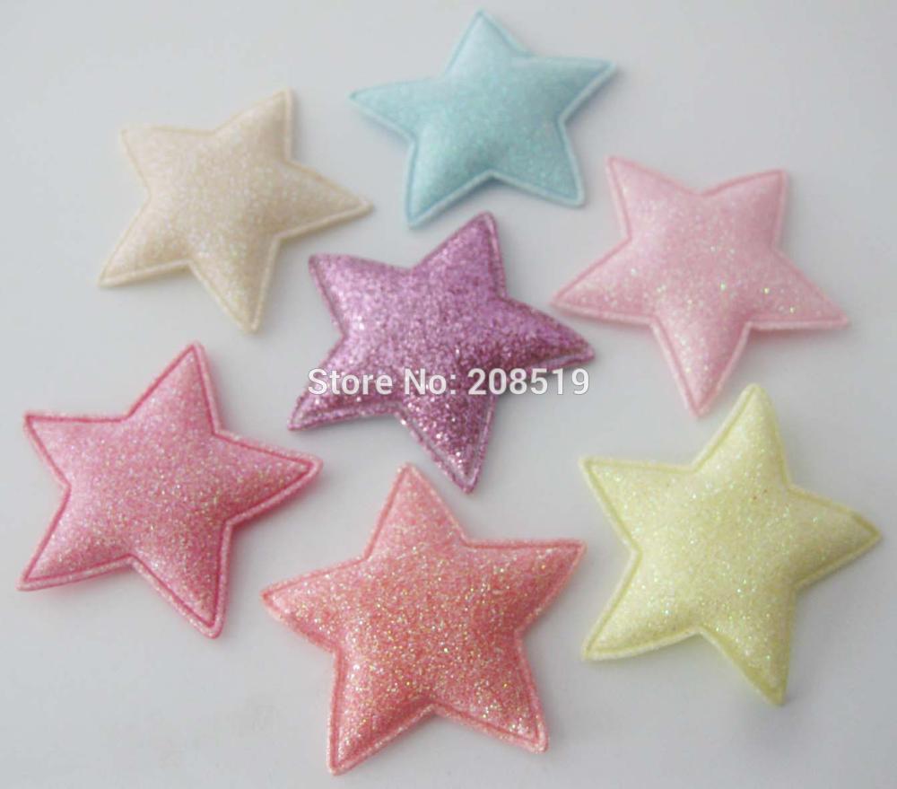 PANNGW микс 80 шт Блестящий фетровый тканевый аппликации около 45 мм звезда патч ручной работы декоративная заплатка для ювелирных изделий для волос - Цвет: Mix 7 colors T