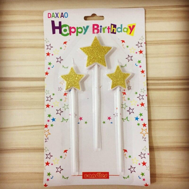3 шт. 12 см день рождения свечи gold star Топпер выбирает души ребенка дети с днем рождения вечерние день рождения торт Топпер вечерние украшения