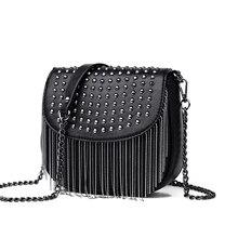 Модная сумка на плечо из искусственной кожи с кисточками, высококачественные женские сумки-мессенджеры с заклепками, роскошные дизайнерские сумки через плечо для женщин