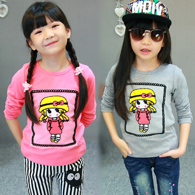 2016 Spring brand baby girls sweatshirt Cotton Fashion Embroidery children clothing Korean cartoon Tracksuit t shirts kids tops