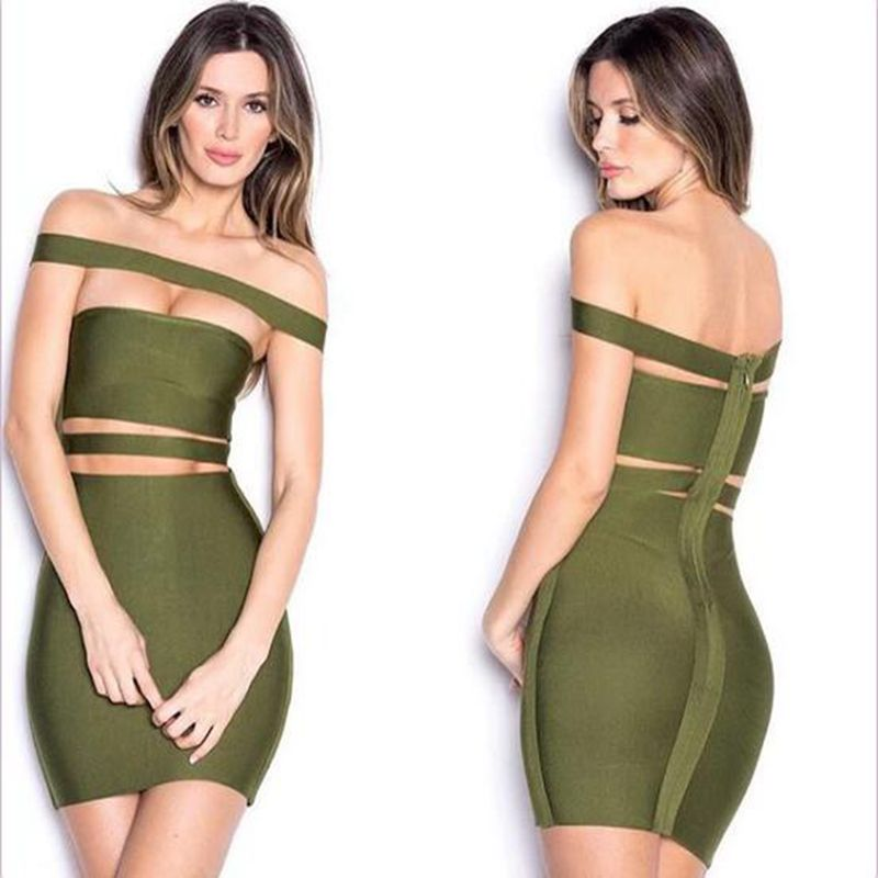 2016 Women Winter Party Bandage font b Dress b font Off Shoulder Cut Out Kardashian font