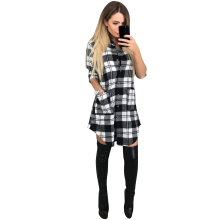 BLACK RED Plaid Shirts Dress Women Turn-Down Collar Long Sleeve Casual Slim Office Dress 2017 New Fashion Button Up Knee Dress