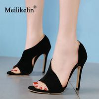 2019 sexy summer women's shoes sandals open toed slip on pumps stilettos high heeled solid color party woman shoes sandals thin