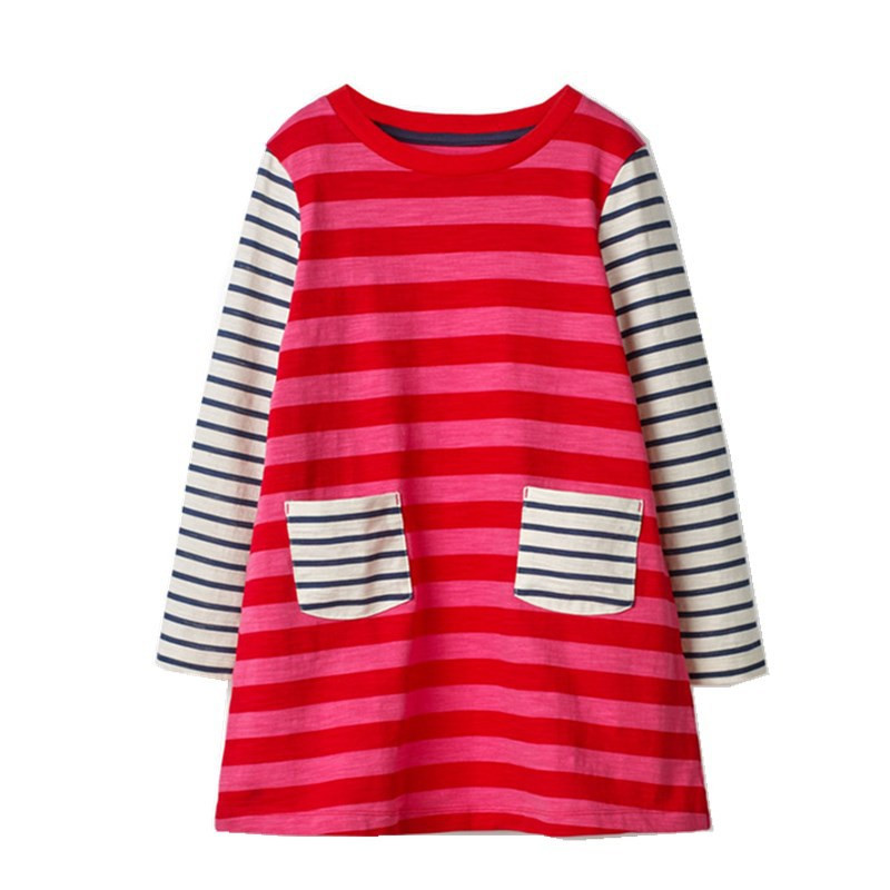 Jumping meters New designs baby dresses 2018 stripe girls dress cotton children clothes long sleeve kids frocks dresses for girl