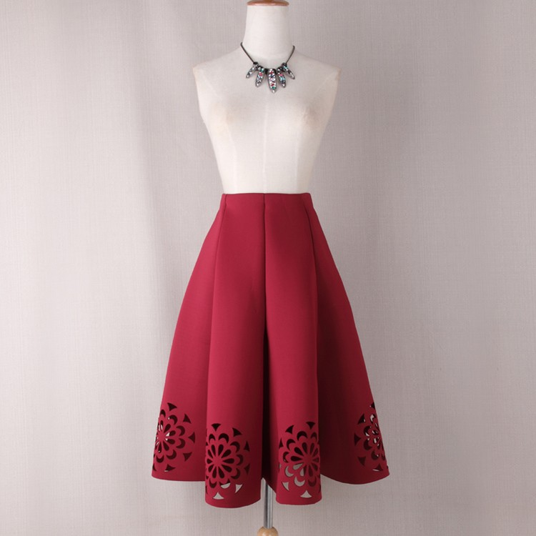 Elegant Vintage Floral Crochet High Waist A-Line Zipper Midi Skirt 3