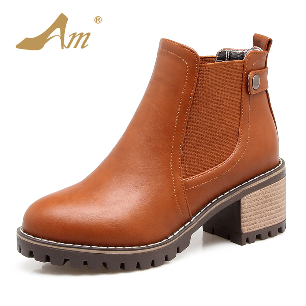 AME Size 34-43 Winter Women Chelsea Boots Casual Elastic Band Ladies Square Heel Shoes Ankle boots High Heeled Snow boot plus size 34 43 autumn and winter ankle boots flock women motorcycle brand quality square high heeled woman chelsea boots shoes