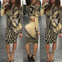16c8aea1529eff Nieuwe Stijl vrouwen Dames Vintage Totem Afdrukken Lange Mouw Bodycon  Skinny Sexy Clubwear Avond Party Slim Potlood Jurk
